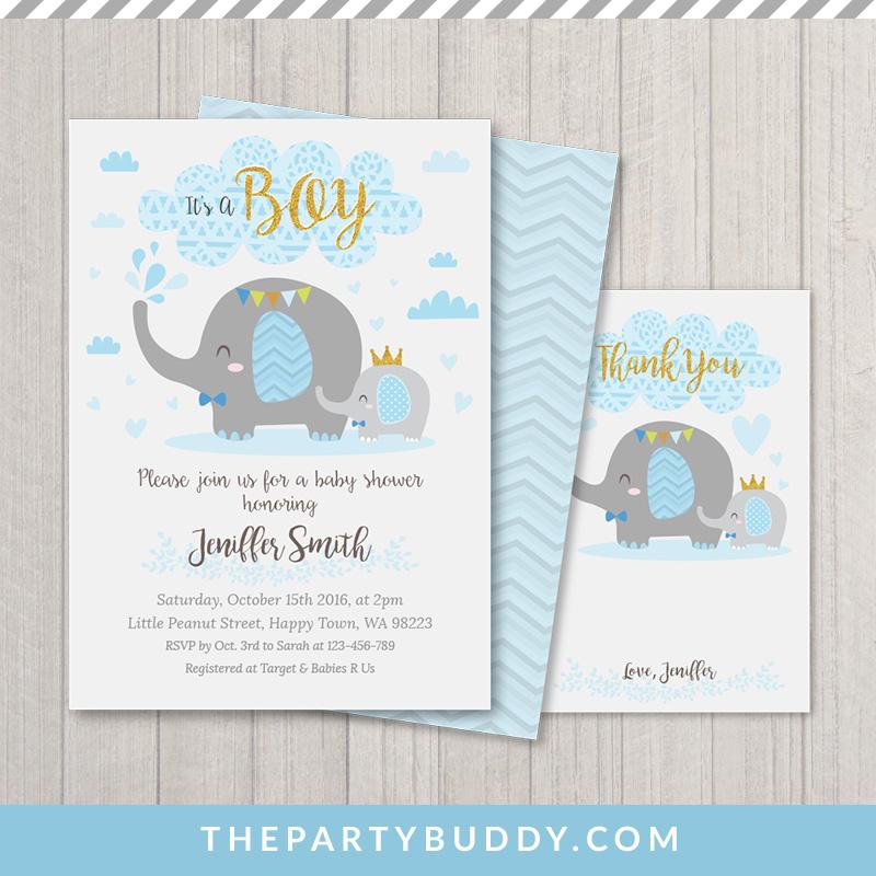 Little Peanut Elephant Baby Shower Boy Invitation Printable- Blue ...