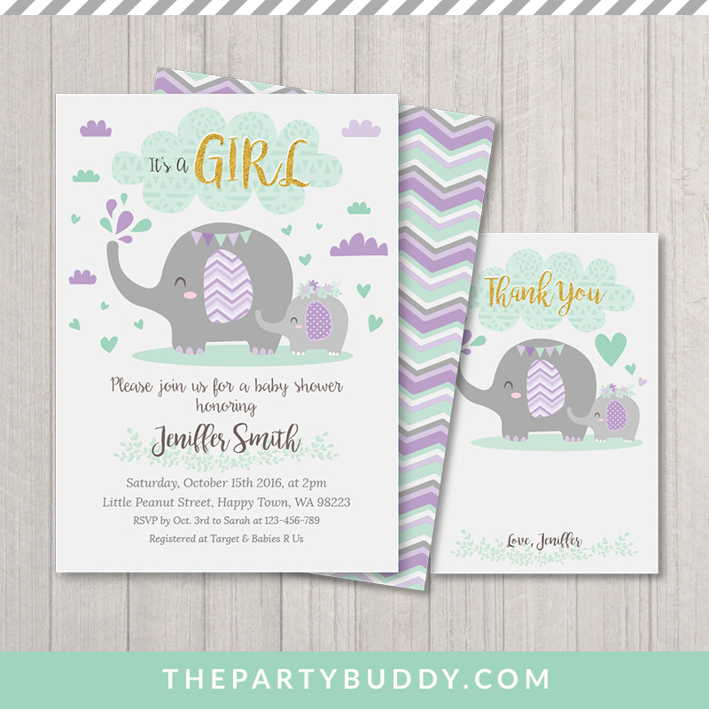 Little Peanut Elephant Baby Shower Girl Invitation Printable- Mint ...