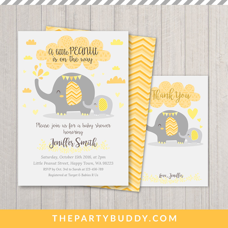 Little Peanut Elephant Baby Shower Invitation Printable- Yellow ...
