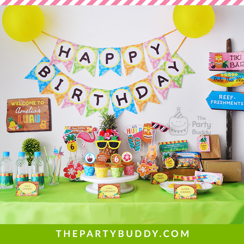 Hawaiian Luau Birthday Party Kit Printable Package ThePartyBuddy
