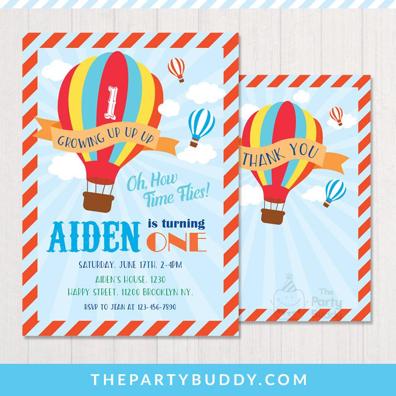 Hot Air Balloon Up Invitation & Thank You Card – ThePartyBuddy